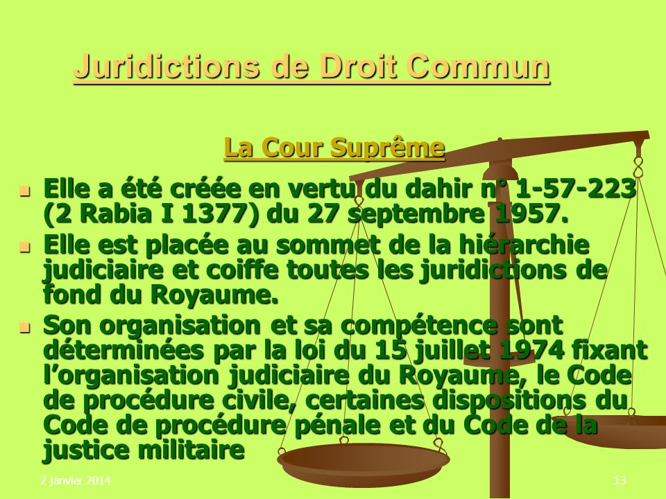 Juridictions de Droit Commun