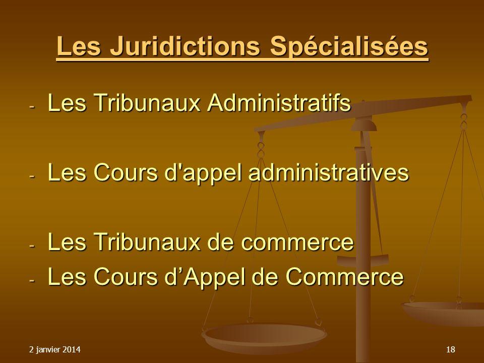 Les Juridictions Spécialisées