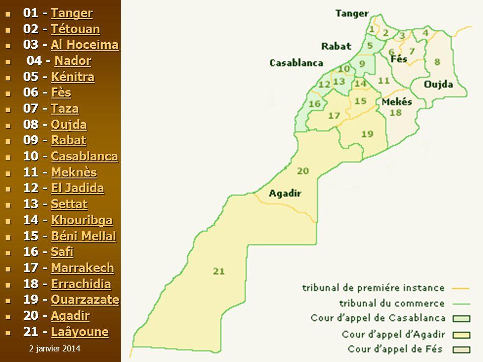 01 - Tanger 02 - Tétouan 03 - Al Hoceima 04 - Nador 05 - Kénitra