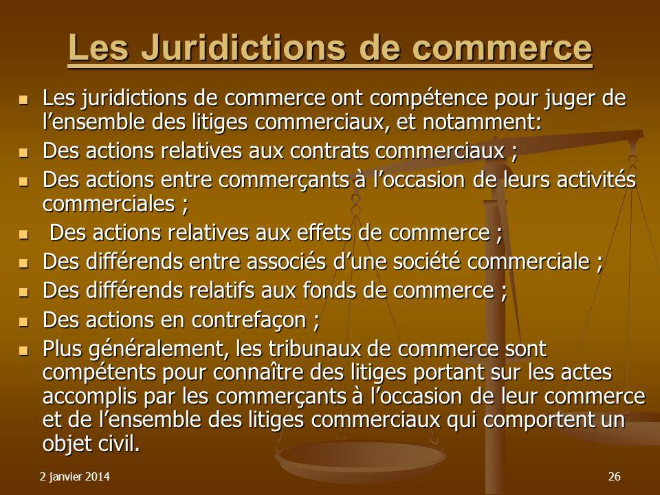 Les Juridictions de commerce