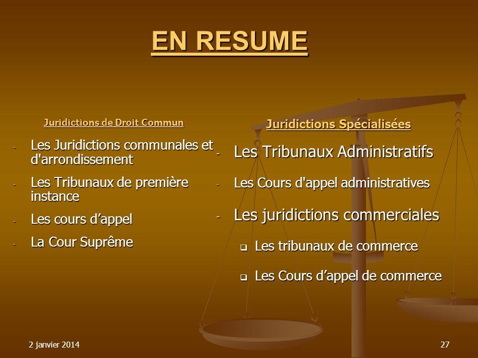 Juridictions de Droit Commun Juridictions Spécialisées