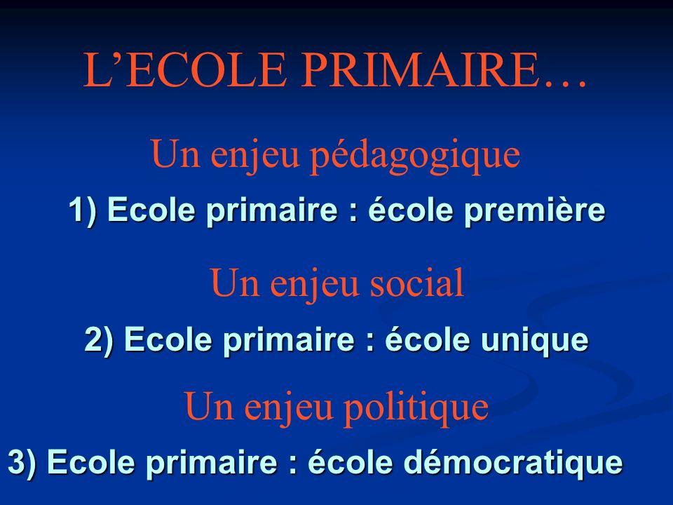 1) Ecole primaire : école première 2) Ecole primaire : école unique