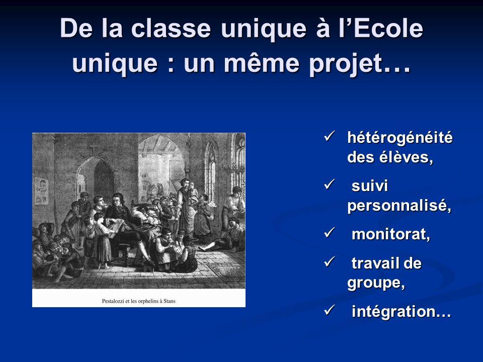 De la classe unique à l'Ecole unique : un même projet…