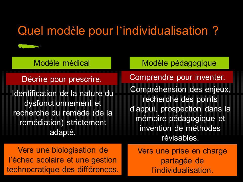Quel modèle pour l'individualisation