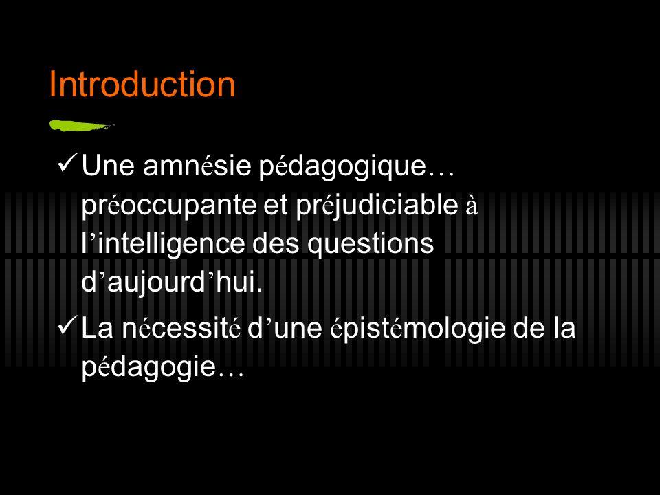 Introduction Une amnésie pédagogique… préoccupante et préjudiciable à l'intelligence des questions d'aujourd'hui.