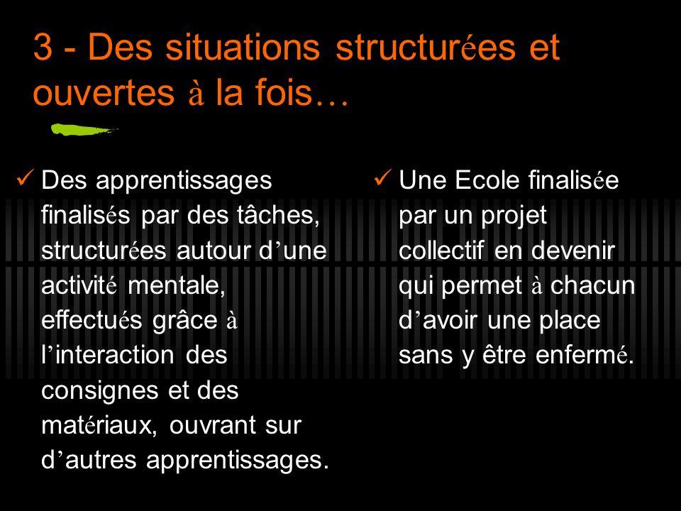 3 - Des situations structurées et ouvertes à la fois…