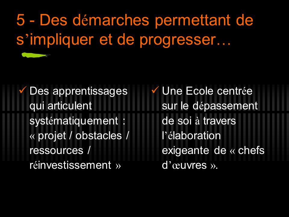 5 - Des démarches permettant de s'impliquer et de progresser…