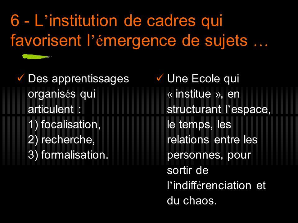 6 - L'institution de cadres qui favorisent l'émergence de sujets …