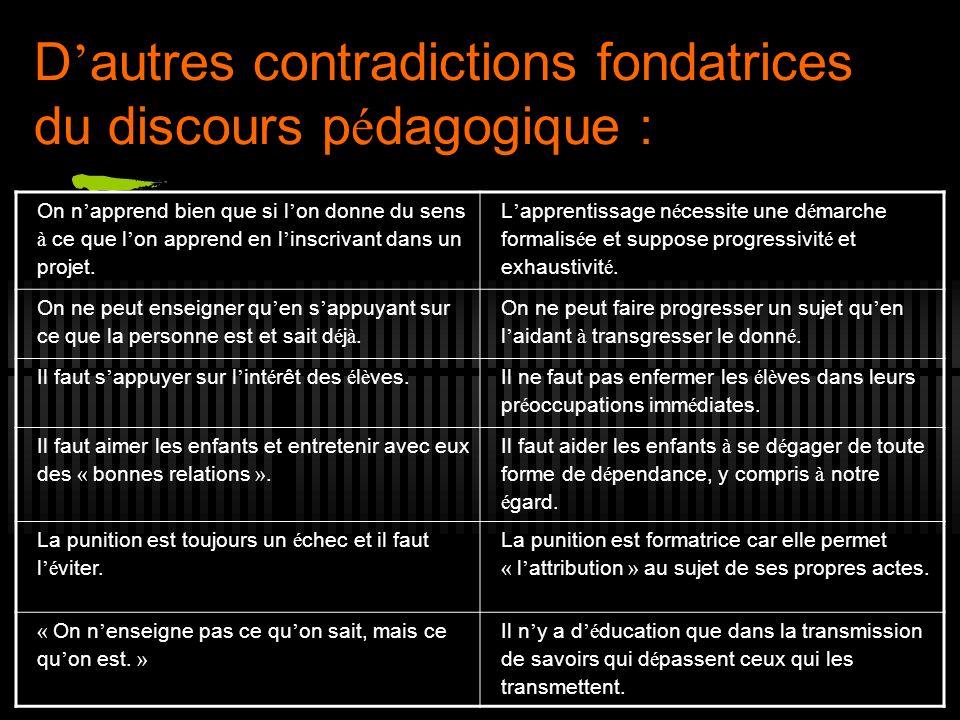 D'autres contradictions fondatrices du discours pédagogique :