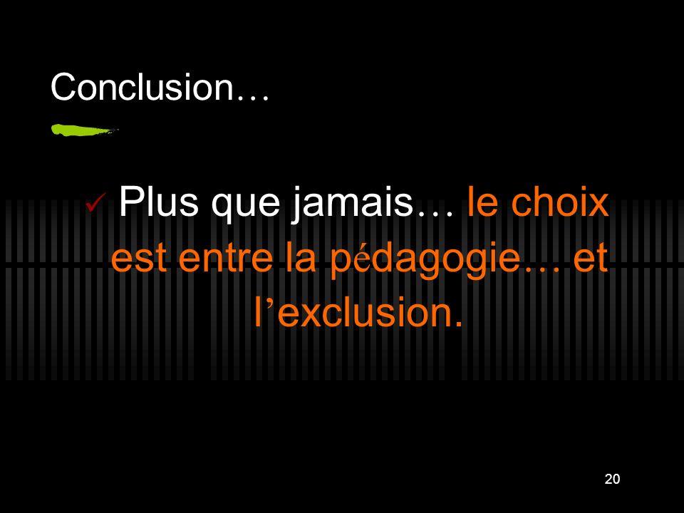 Plus que jamais… le choix est entre la pédagogie… et l'exclusion.