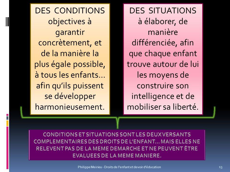 DES CONDITIONS