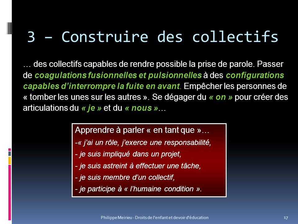 3 – Construire des collectifs
