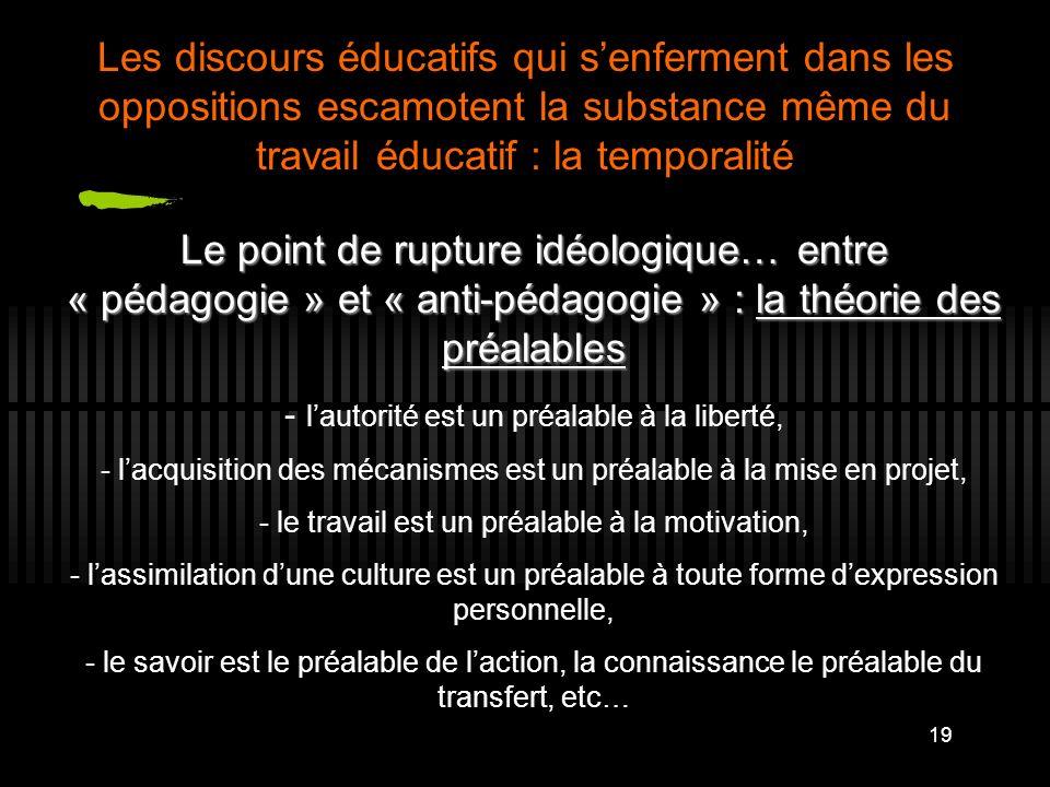 Les discours éducatifs qui s'enferment dans les oppositions escamotent la substance même du travail éducatif : la temporalité
