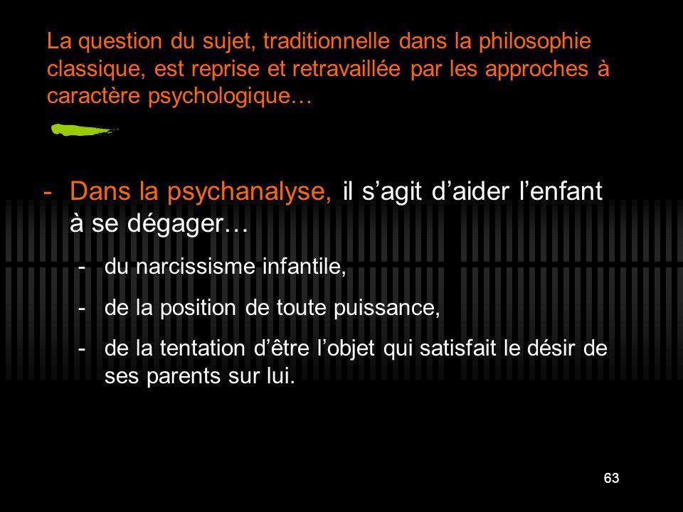 Dans la psychanalyse, il s'agit d'aider l'enfant à se dégager…