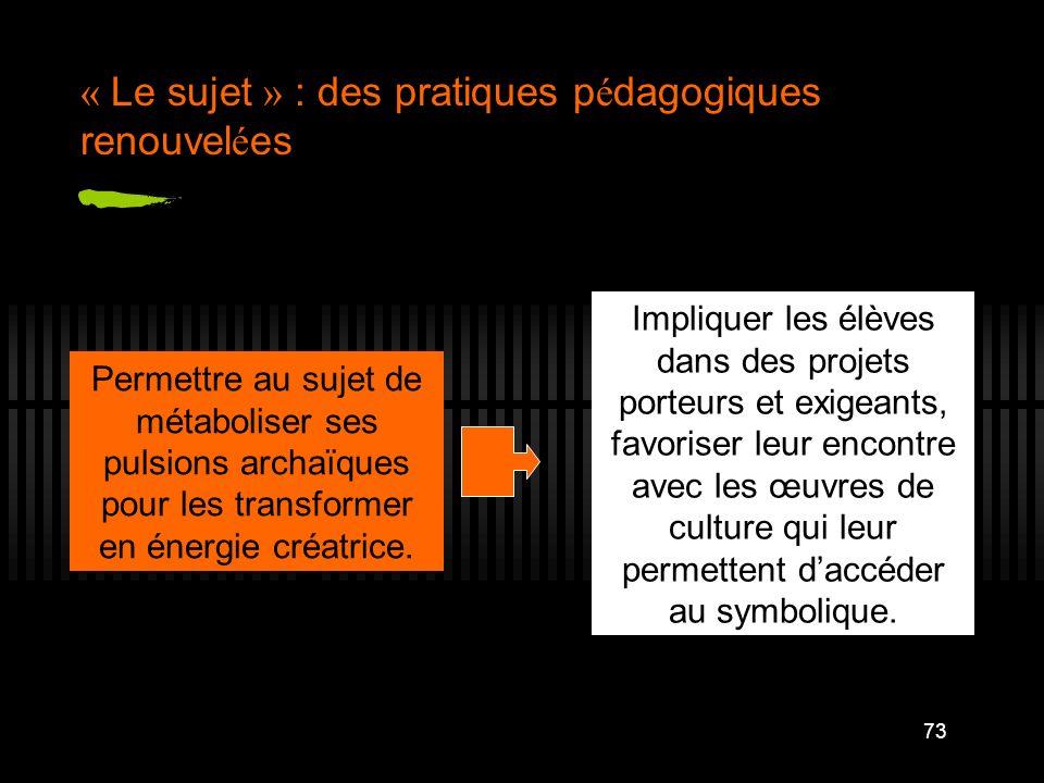 « Le sujet » : des pratiques pédagogiques renouvelées