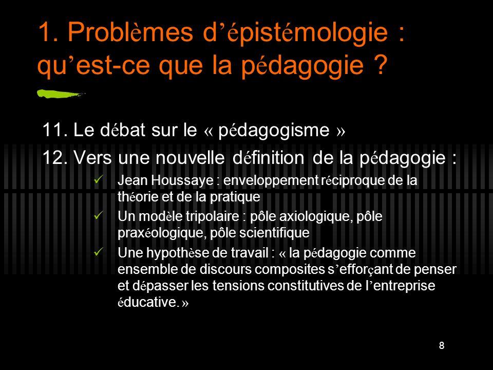 1. Problèmes d'épistémologie : qu'est-ce que la pédagogie