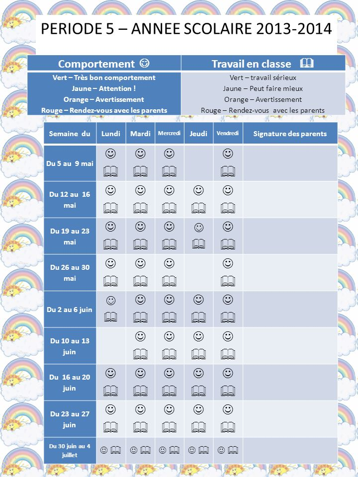 PERIODE 5 – ANNEE SCOLAIRE 2013-2014