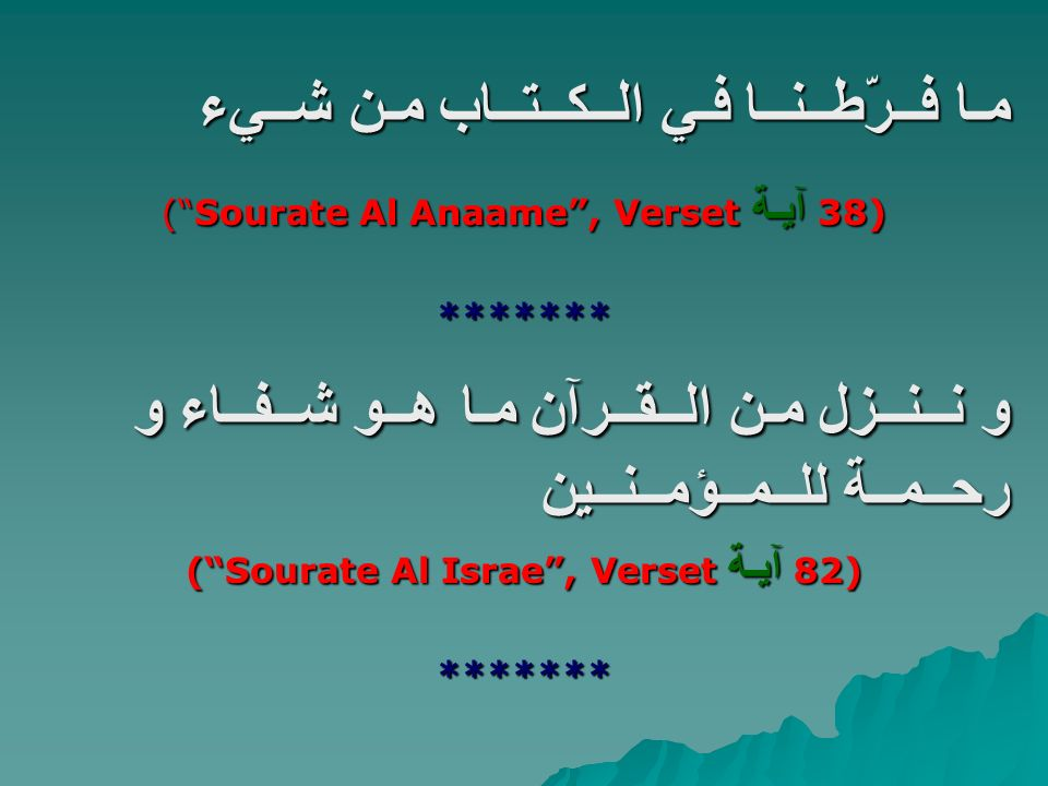 ( Sourate Al Israe , Verset آيـة 82)
