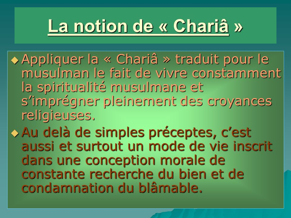 La notion de « Chariâ »