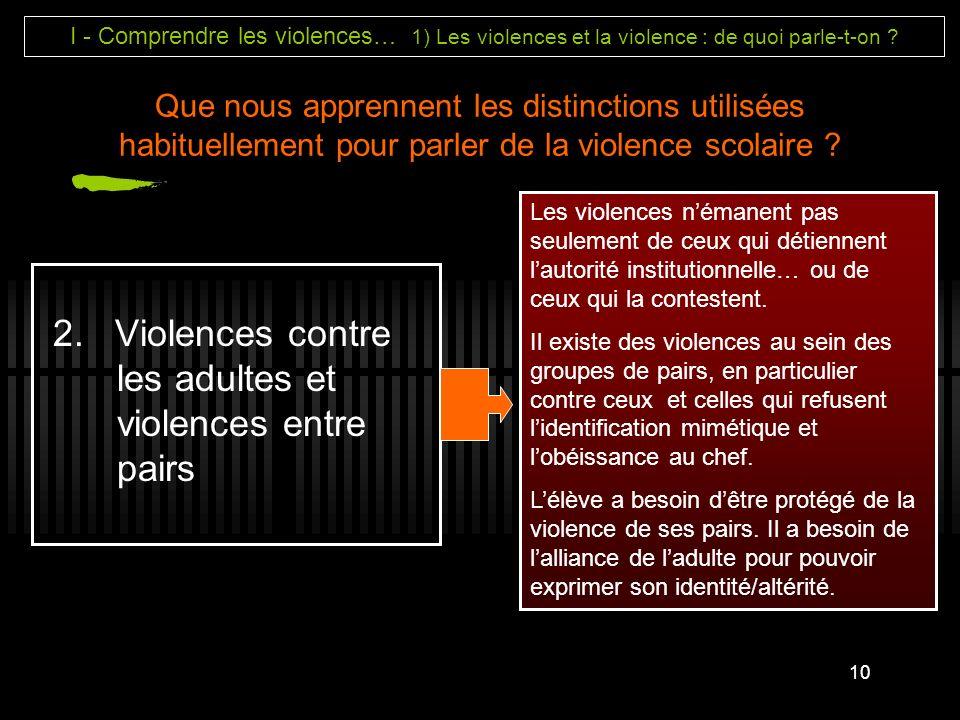 2. Violences contre les adultes et violences entre pairs