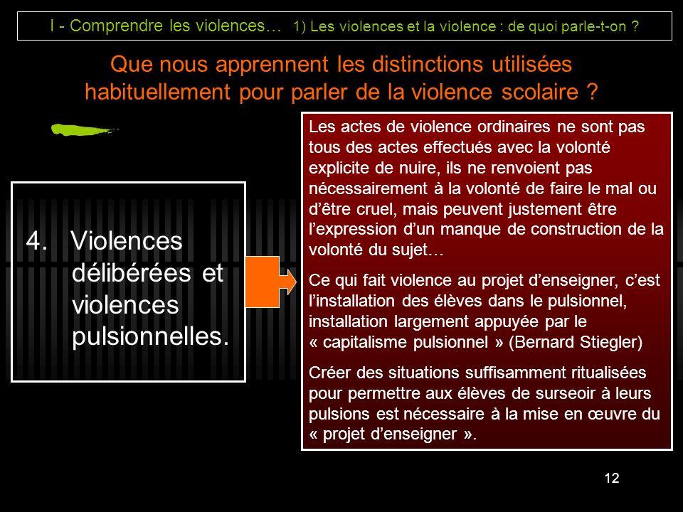 4. Violences délibérées et violences pulsionnelles.