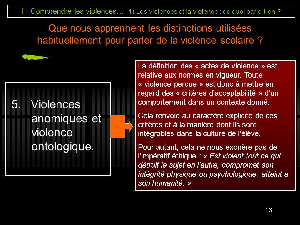 5. Violences anomiques et violence ontologique.