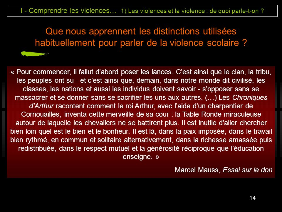 I - Comprendre les violences… 1) Les violences et la violence : de quoi parle-t-on