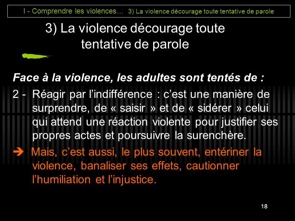 3) La violence décourage toute tentative de parole