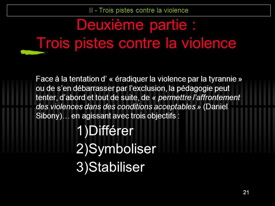 Deuxième partie : Trois pistes contre la violence