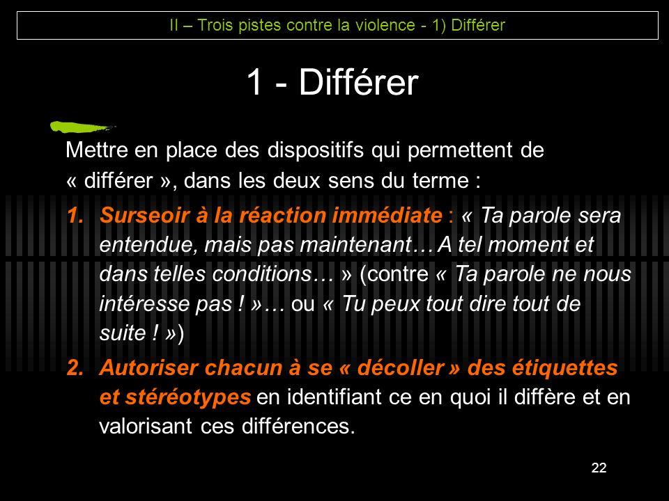 II – Trois pistes contre la violence - 1) Différer