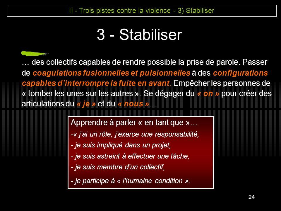 II - Trois pistes contre la violence - 3) Stabiliser