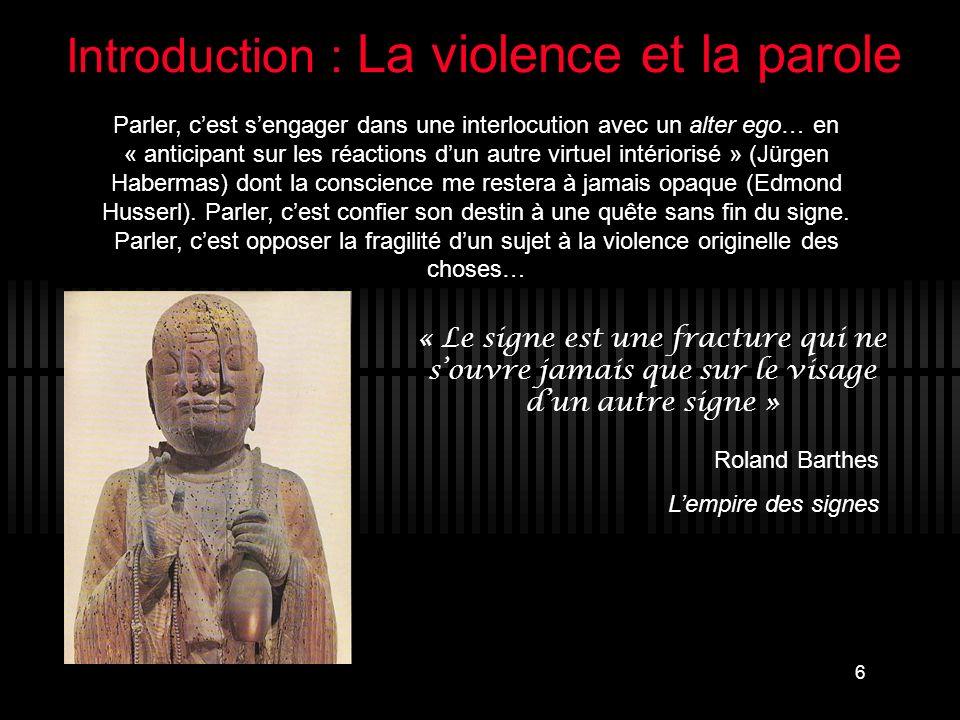 Introduction : La violence et la parole