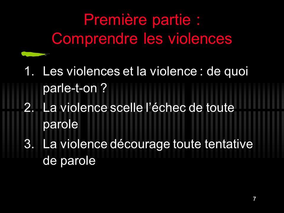 Première partie : Comprendre les violences
