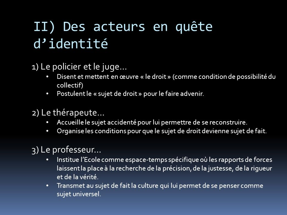 II) Des acteurs en quête d'identité