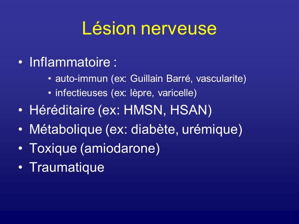 Lésion nerveuse Inflammatoire : Héréditaire (ex: HMSN, HSAN)