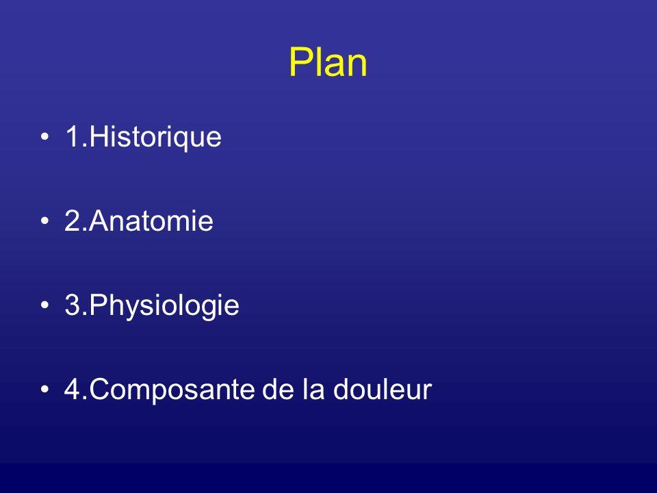 Plan 1.Historique 2.Anatomie 3.Physiologie 4.Composante de la douleur