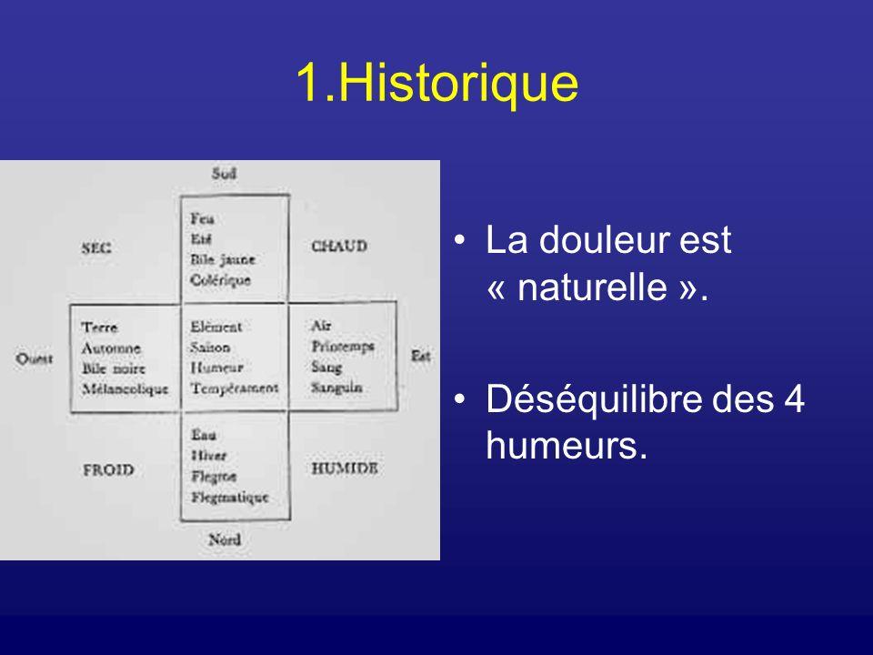 1.Historique La douleur est « naturelle ». Déséquilibre des 4 humeurs.
