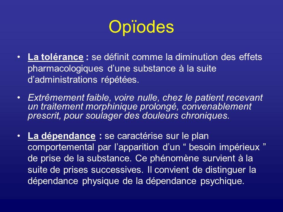 Opïodes La tolérance : se définit comme la diminution des effets pharmacologiques d'une substance à la suite d'administrations répétées.