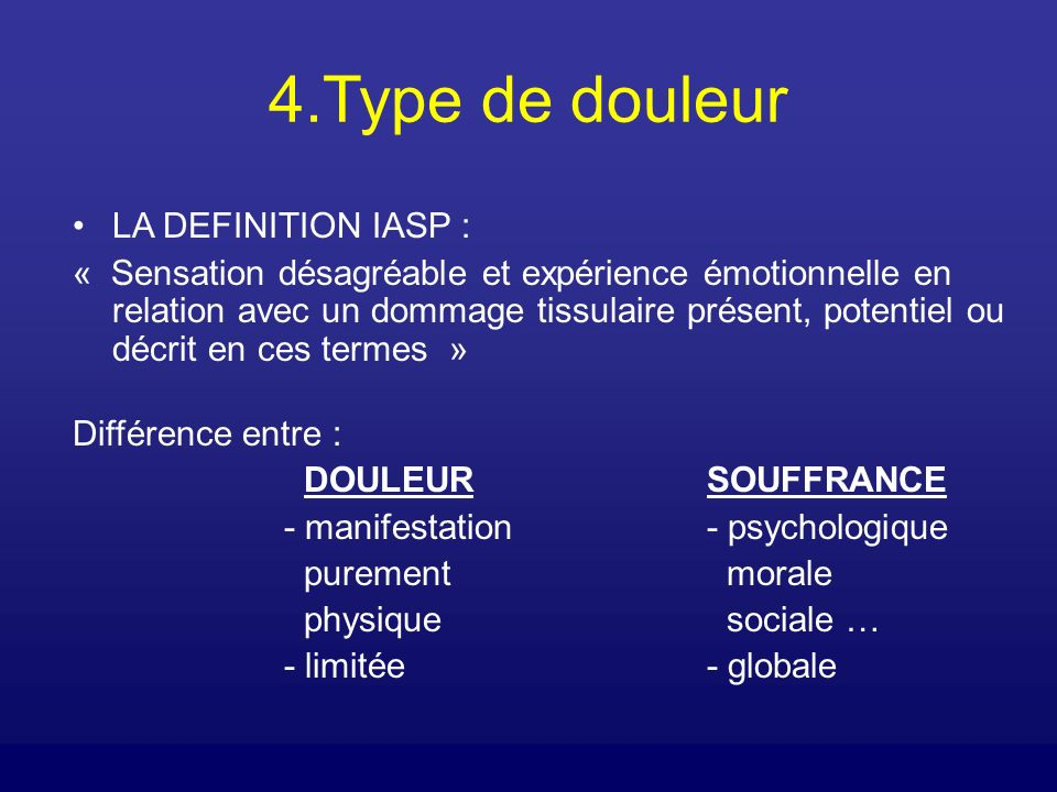 4.Type de douleur LA DEFINITION IASP :