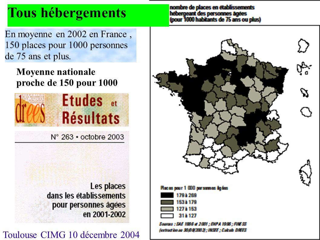 Tous hébergements En moyenne en 2002 en France , 150 places pour 1000 personnes de 75 ans et plus.