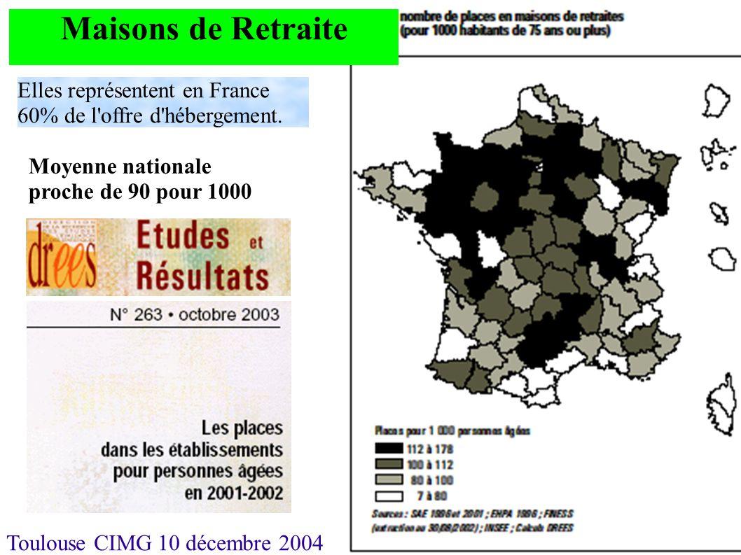 Maisons de Retraite Elles représentent en France 60% de l offre d hébergement.