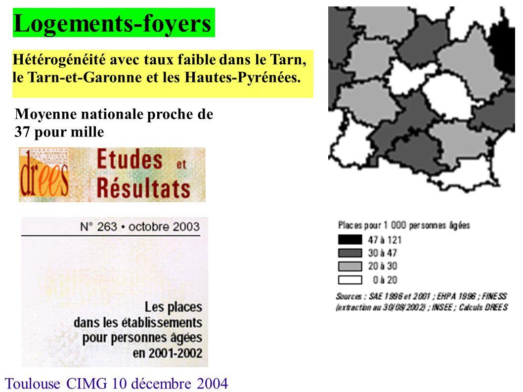 Logements-foyers Hétérogénéité avec taux faible dans le Tarn, le Tarn-et-Garonne et les Hautes-Pyrénées.