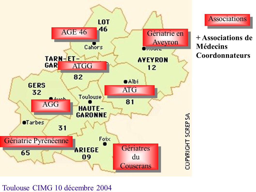 AssociationsAGE 46. Gériatrie en Aveyron. + Associations de Médecins Coordonnateurs. ATGG. ATG. AGG.