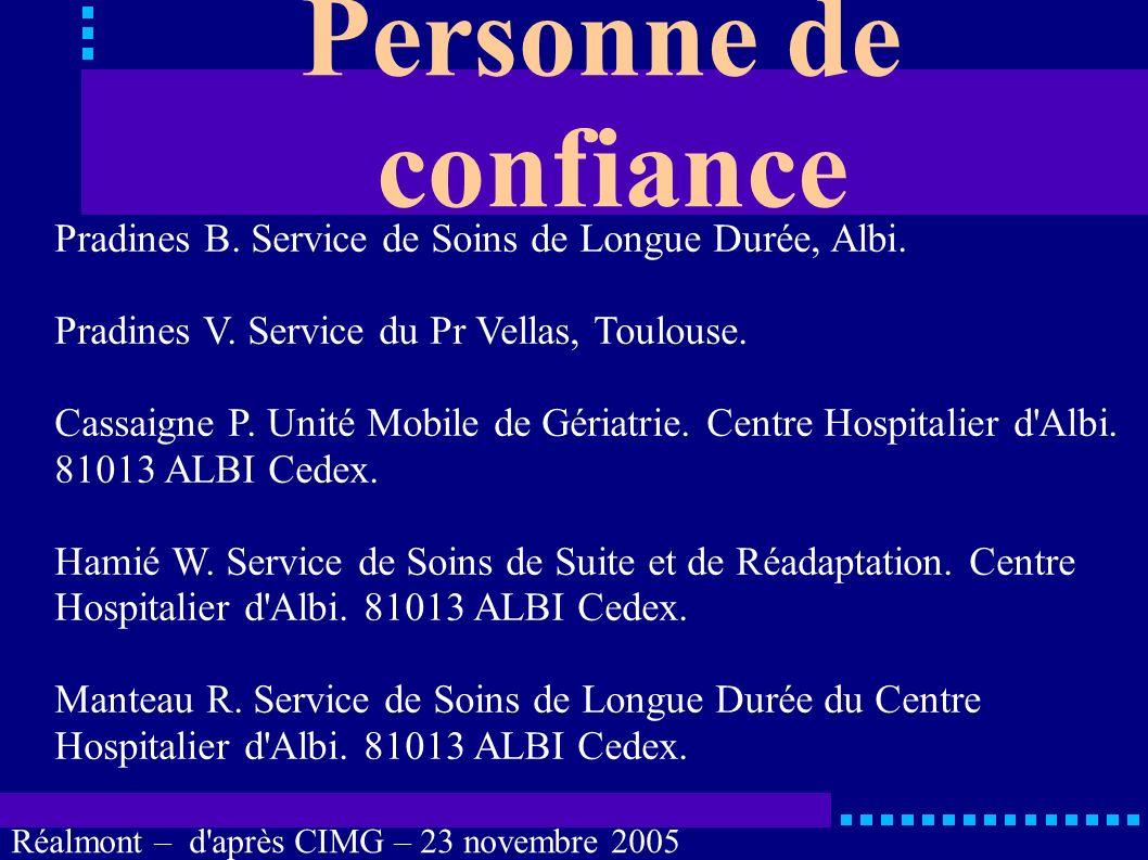Personne de confiance Pradines B. Service de Soins de Longue Durée, Albi. Pradines V. Service du Pr Vellas, Toulouse.