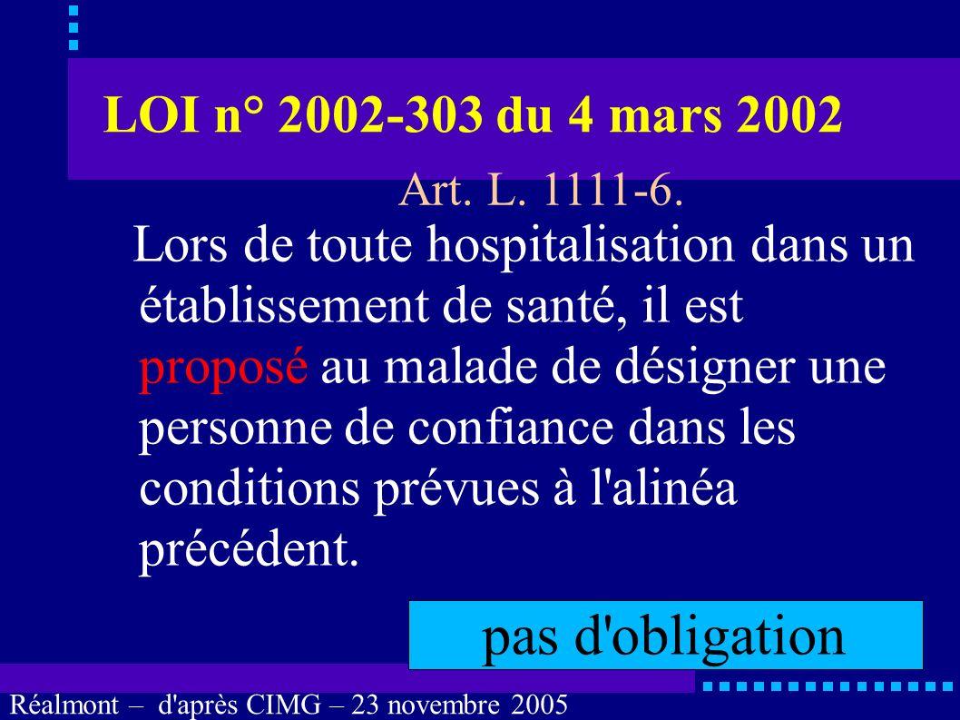 pas d obligation LOI n° 2002-303 du 4 mars 2002