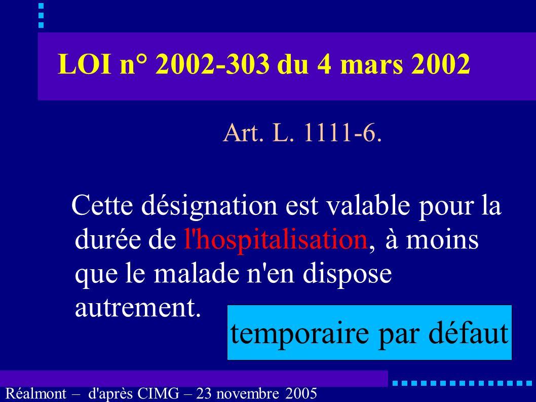 temporaire par défaut LOI n° 2002-303 du 4 mars 2002