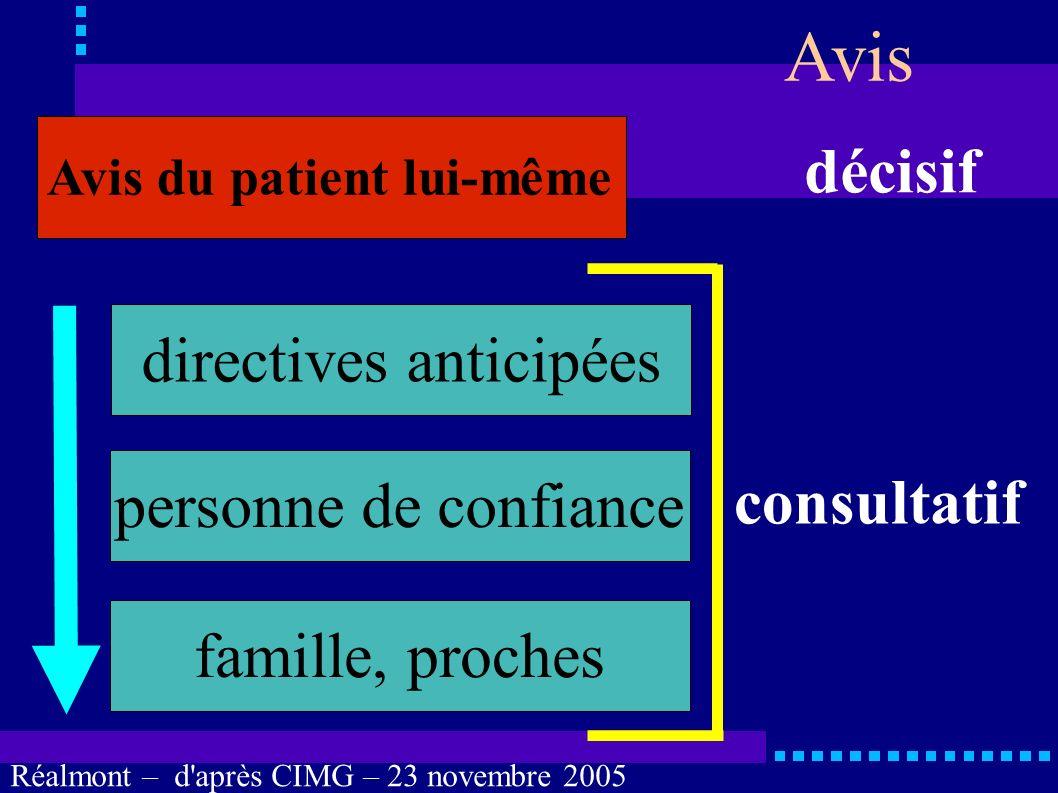 Avis décisif directives anticipées personne de confiance consultatif