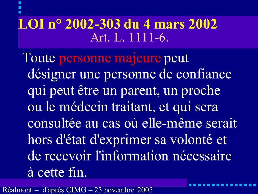 LOI n° 2002-303 du 4 mars 2002 Art. L. 1111-6.