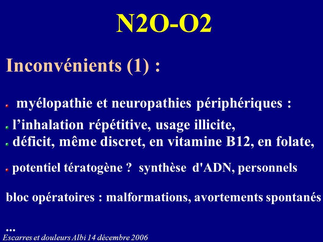 N2O-O2 Inconvénients (1) : myélopathie et neuropathies périphériques :