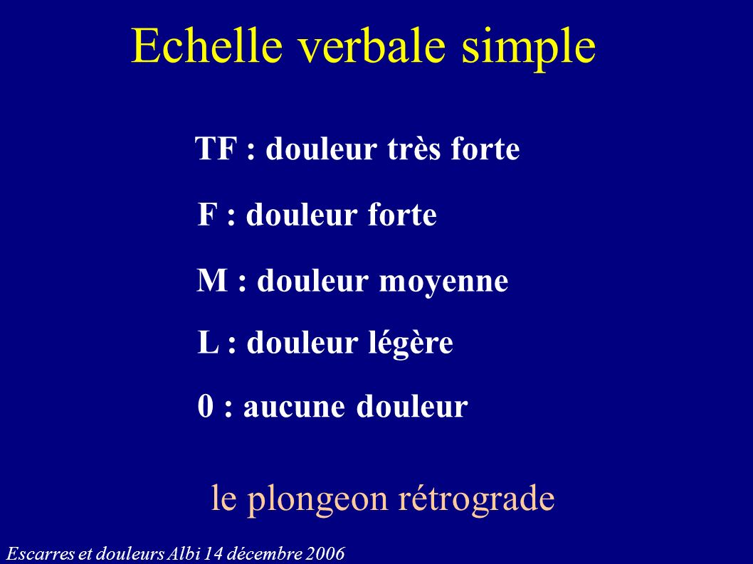 Echelle verbale simple